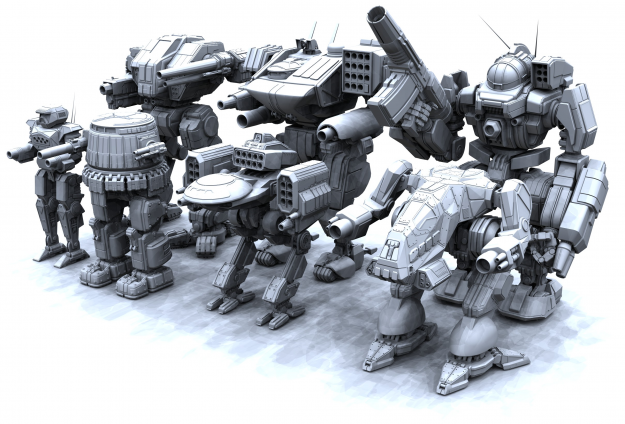 Some of the newer playable 'Mechs from MechWarrior IV: Mercenaries