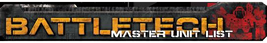 BattleTech Master Unit List