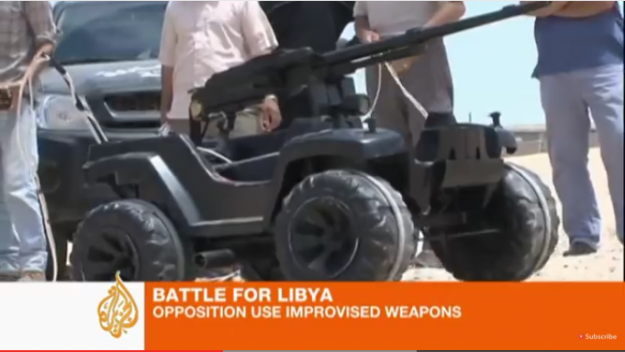 Libyan Improvised Fire Support Robot. Putting your USB-controlled Nerf launcher to shame