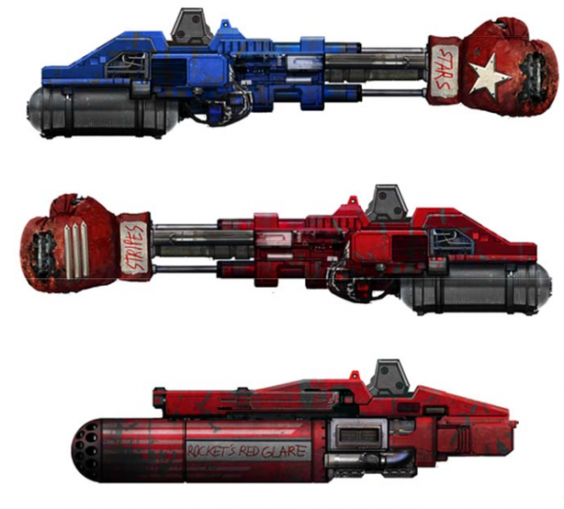 A few of the modular weapons packages. Move over Real Steel.
