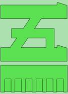 Green katakana 5 on light green background with green bar underneath