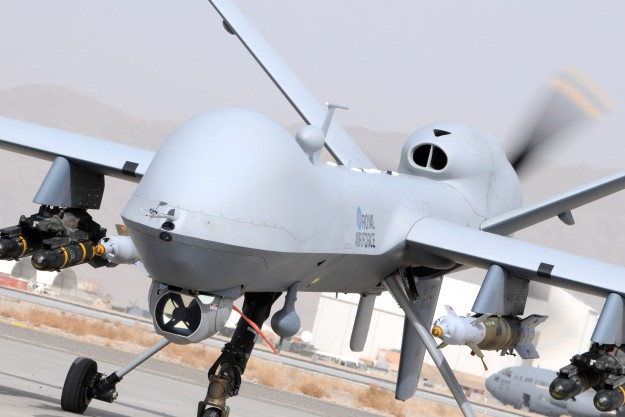 MQ-9 Reaper armed with AGM-114 Hellfires and Small Diameter Bombs