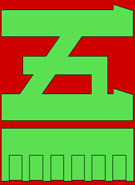 Green katakana 5 on red background with green bar underneath