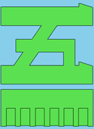 Green katakana 5 on light blue background with green bar underneath