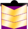 Three gold chevrons, purple fills upper chevron opening and opening behind lower chevron, with black bar that has half-circle along upper edge.