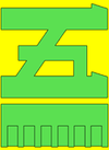 Green katakana 5 on yellow background with green bar underneath